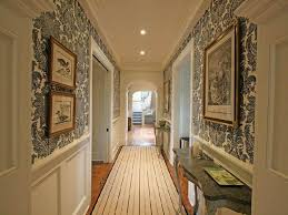 hallway long hallway with wainscoting and wallpaper update your hallway