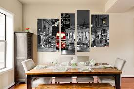 4 piece canvas wall decor red bus large pictures black and white