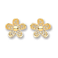 9ct gold earrings 9ct gold flower stud