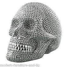 new designer silver ceramic skull ornament silver skull figurine