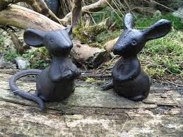 set of 2 cast iron mice great for a cheeseboard