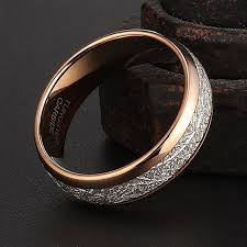 How To Make Inlay Jewelry - tusen jewelry mens ring 8mm rose gold tungsten carbide ring