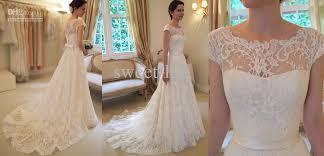 ivory lace wedding dress 2016 vintage lace a line wedding dresses bateau sleeve