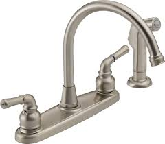 gold peerless kitchen faucet repair wide spread two handle pull