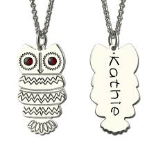 personalized name necklaces owl necklace with back engraving silver personalized name necklace