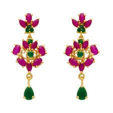 earring necklace ruby images Shubham gems and jewellers ruby emerald cz gold plated necklace jpg