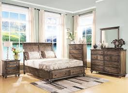Bedroom Furniture Mn Fallbrook Weathered Brown Storage Bedroom 4pc Set For