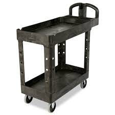 rubbermaid service cart with cabinet rubbermaid fg450088bla 2 level polymer utility cart w 500 lb