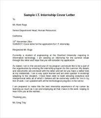 sample cover letter for summer internship