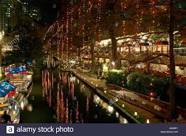 san antonio texas river walk at night with christmas lights stock