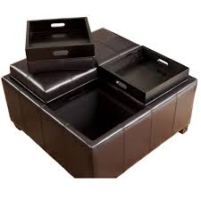 Wood Storage Ottoman by Storage Ottoman With Tray Top For Serving Coffee Drinks And Meals