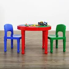 Plastic Table And Chairs Tot Tutors Playtime 5 Piece Primary Colors Kids Plastic Table And