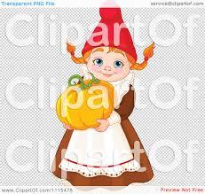 pumpkin no background cartoon cute female garden gnome carrying a pumpkin royalty free