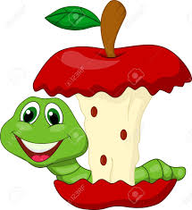 apple cartoon worm eating red apple cartoon royalty free cliparts vectors and