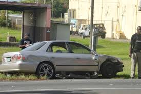wrecked car after gun battle near gas station police find marijuana firearm