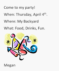 first grade informative writing lesson party invitation k 5