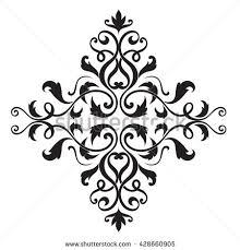 vintage baroque ornament border floral black stock vector
