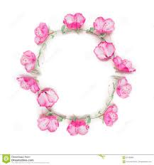 floral frame wreath with pink flower buds branches and leaves on