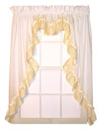 lynn 3 piece white country ruffled swags u0026 filler valance window