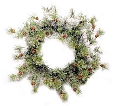 deluxe smokey pine wreath with pinecone accents choice of 2 sizes