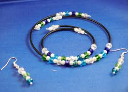 beautiful combination of greens blue and white glass pearl memory