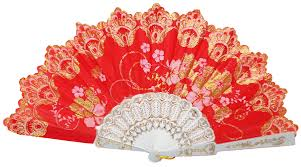 decorative fans decorative folding silk fan coral with gold flower pattern