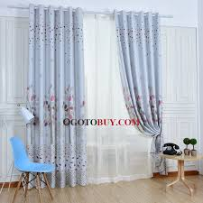 Blackout Curtains For Girls Room White Floral Duplex Printing Polyester Blackout Curtains For
