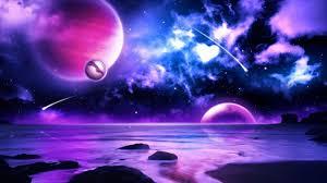 purple planet meteors in space wallpaper 1366x768 resolution