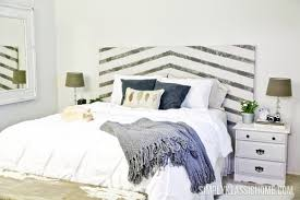 White Painted Headboard by Diy Painted And Striped Headboard