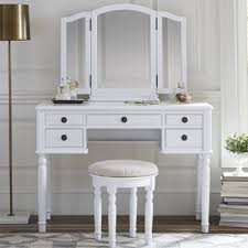 Mirrored Vanity Stool Makeup Tables And Vanities You U0027ll Love Wayfair