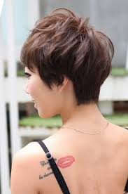 front and back views of chopped hair back view of layered short pixie haircut short pixie haircuts