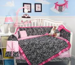 Animal Print Crib Bedding Sets Soho Pink With Black White Zebra Chenille Crib