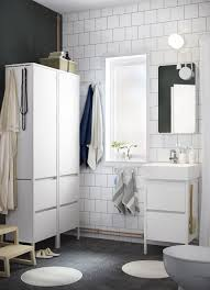 ikea small bathrooms a small white bathroom with a high cabinet
