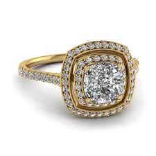 yellow gold diamond rings yellow gold cushion white diamond engagement wedding ring in pave