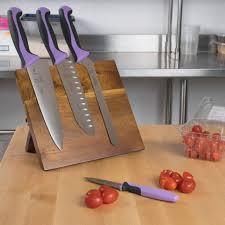Restaurant Kitchen Knives Mercer Culinary Millennia Acacia Magnetic Purple 5 Knife Set