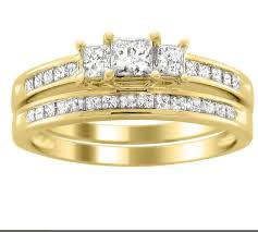 yellow gold wedding ring sets inexpensive wedding set 2 carat princess cut