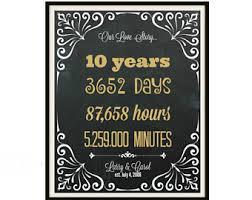 ten year anniversary gifts 10 year wedding etsy