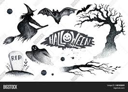 Halloween Pumpkin Silhouettes Halloween Hand Drawing Black White Graphic Set Icon Drawn