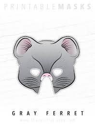Ferret Costumes Halloween Ferret Weasel Printable Animal Party Mask Gray Ferret Animal