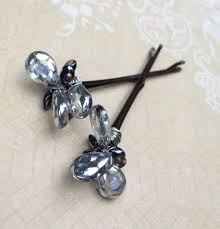 decorative hair pins silver beaded bobby pins festive hair pins fancy hair for