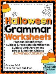 halloween grammar worksheets grammar worksheets subject verb