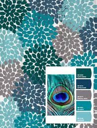 shower curtain peacock blue green gray inspired floral swirled