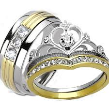 his and hers engagement rings buy his hers yellow gold ip crown stainless steel men s titanium