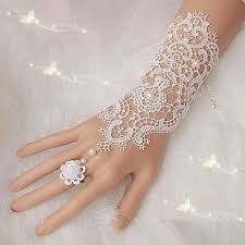 pearl lace pearl lace flower wedding bridal gloves ring bracelet for women at