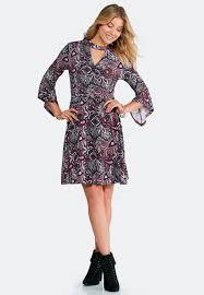 plum paisley bell sleeve dress a line u0026 swing cato fashions