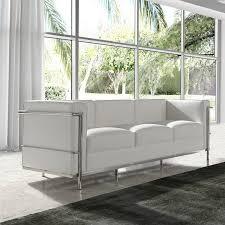 univers du canapé canapé 3 places cuir blanc inox moderne design corbs univers du salon