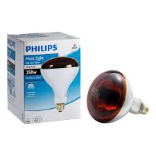 philips 250 watt incandescent r40 red heat lamp light bulb 415836