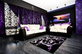 black and purple gothic style living room ideas with lace sunshade