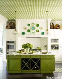 kitchen hbx gingham painted ceiling mendelson colorful kitchens