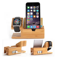 Device Charging Station Wholesale For Apple Watch Iwatch Iphone Bamboo Charging Station